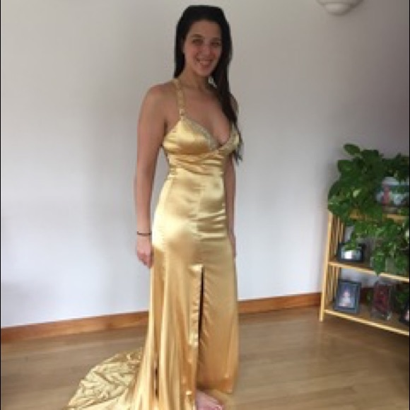 Tony Bowls Dresses | Beautiful Elegant Gold With Sequins Gown | Poshmark